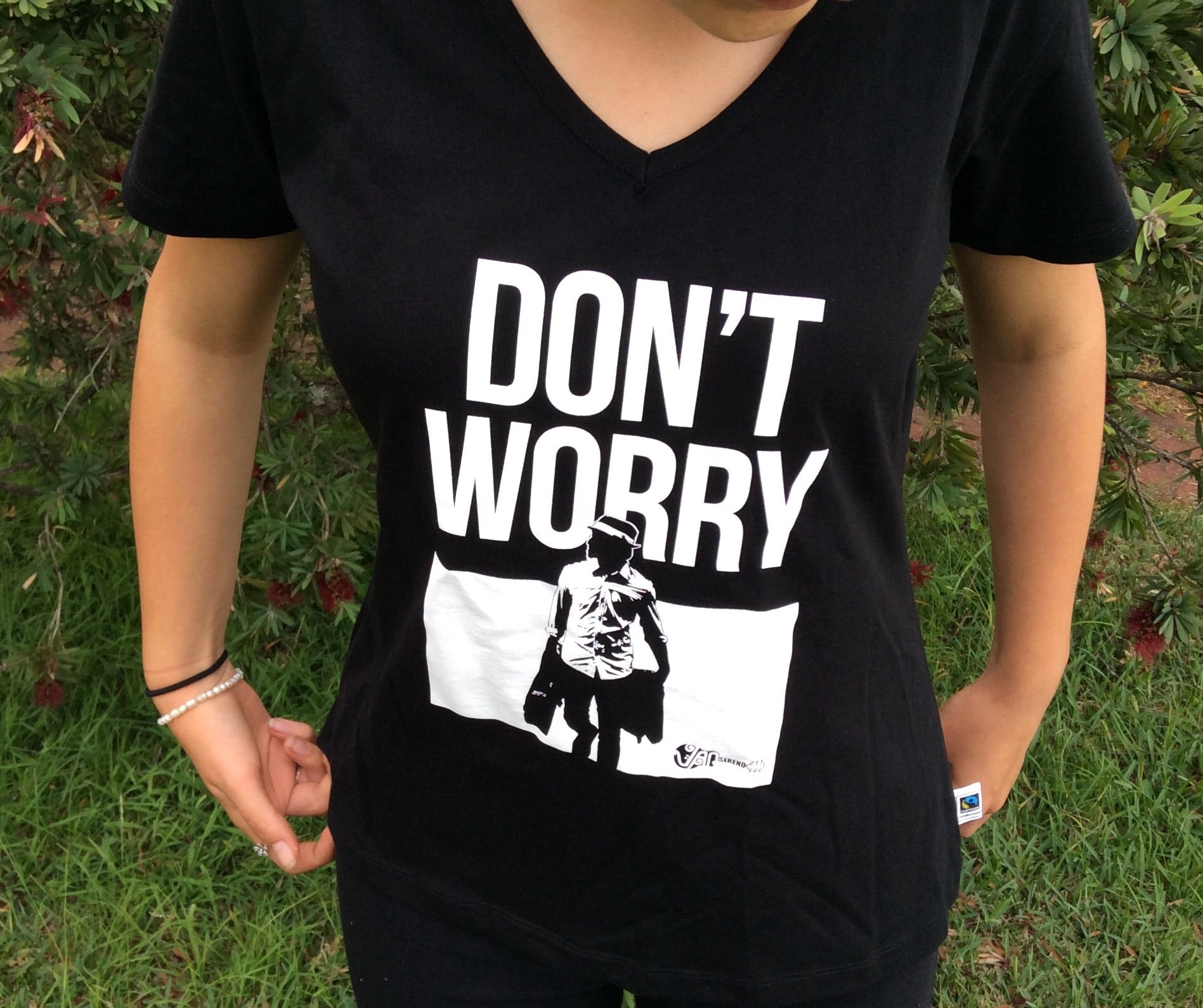 Fair Trade Ethical Cotton T-Shirt Don't Worry Design