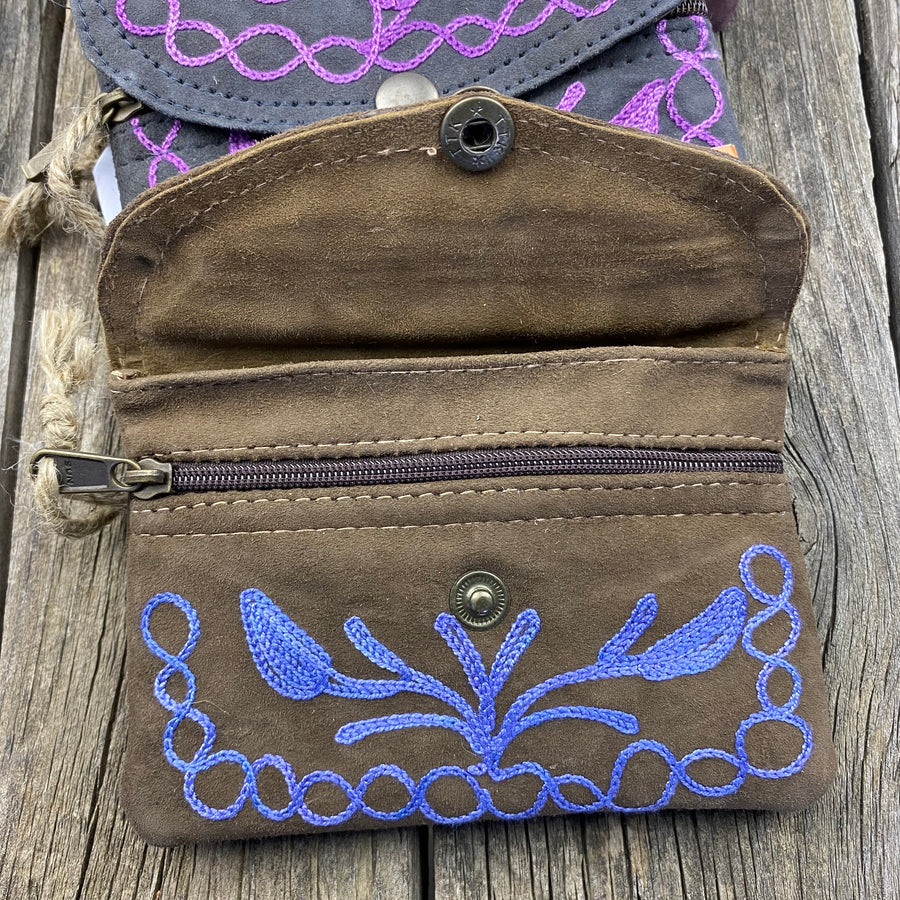 Fair Trade Ethical Embroidered Suede Coin Purse Wallet-Assorted