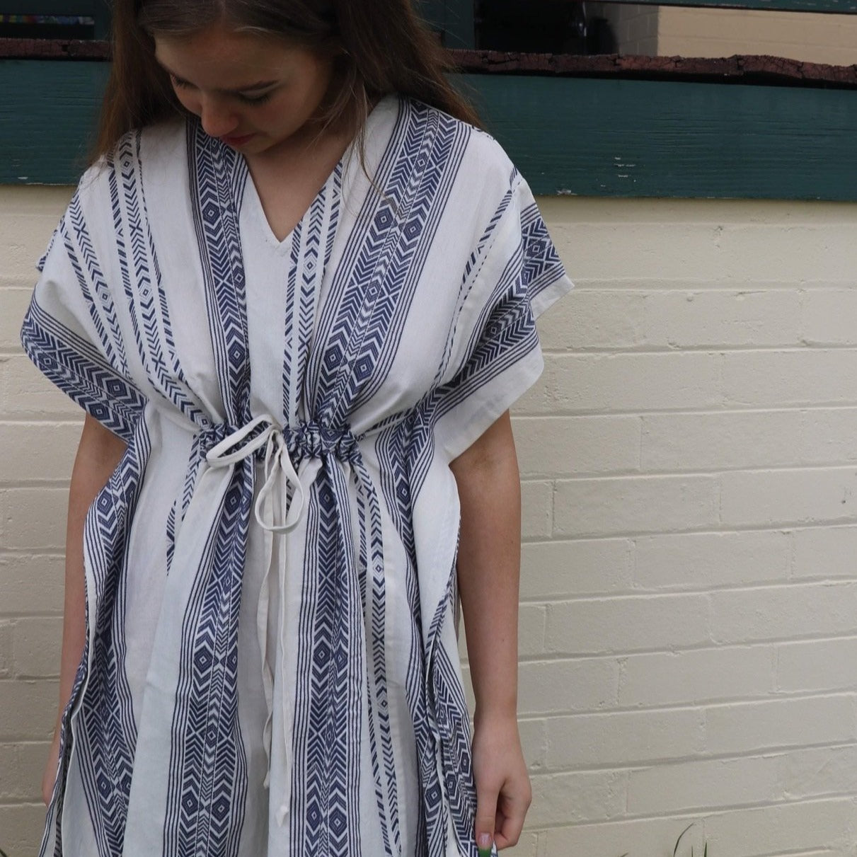 Fair Trade Blue Arrows Cotton Short Kaftan Light Towel Adult