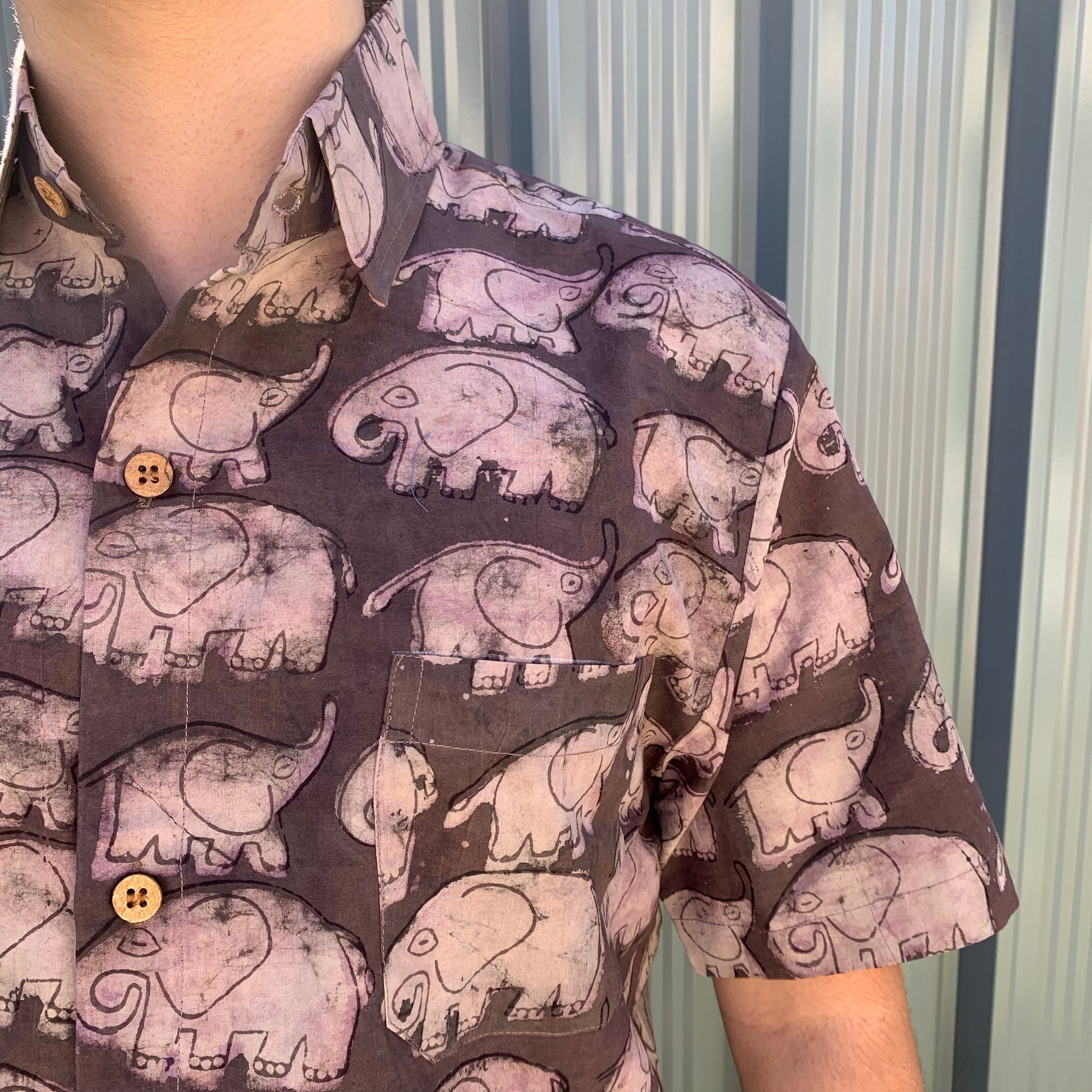 Fair Trade Ethical Mud Resistant Cotton Shirt in Elephant Design