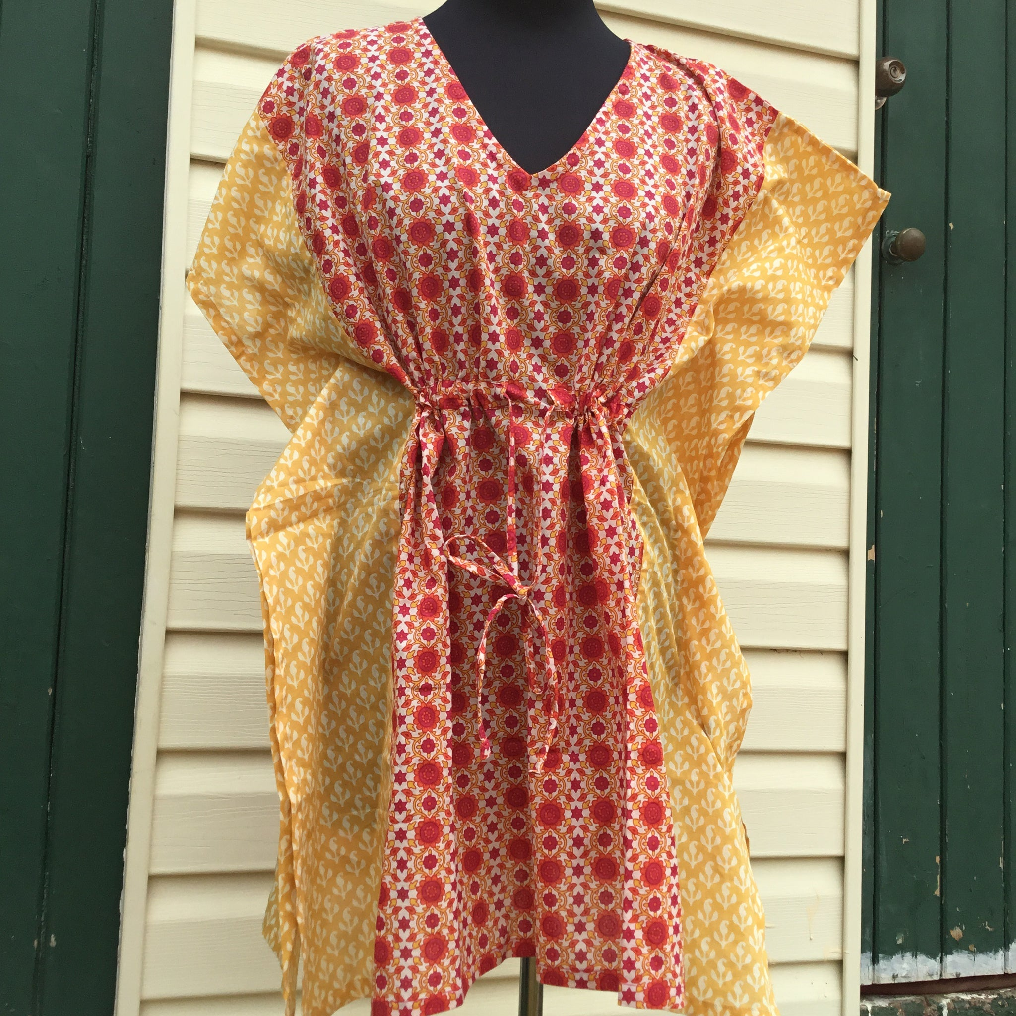 Fair Trade Short Kaftan Red & Yellow