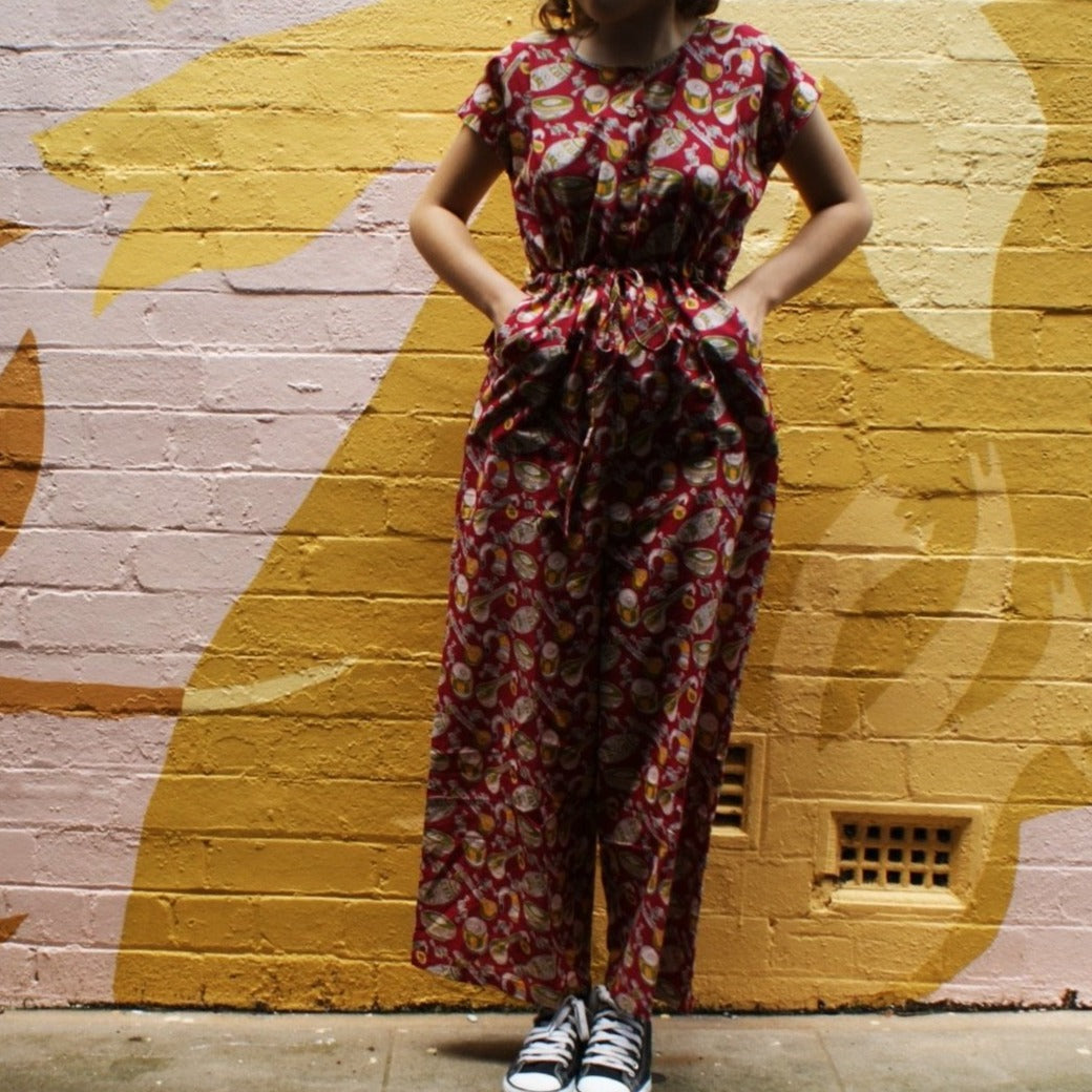 Fair Trade Cotton Jumpsuits Musical Instruments Red Design