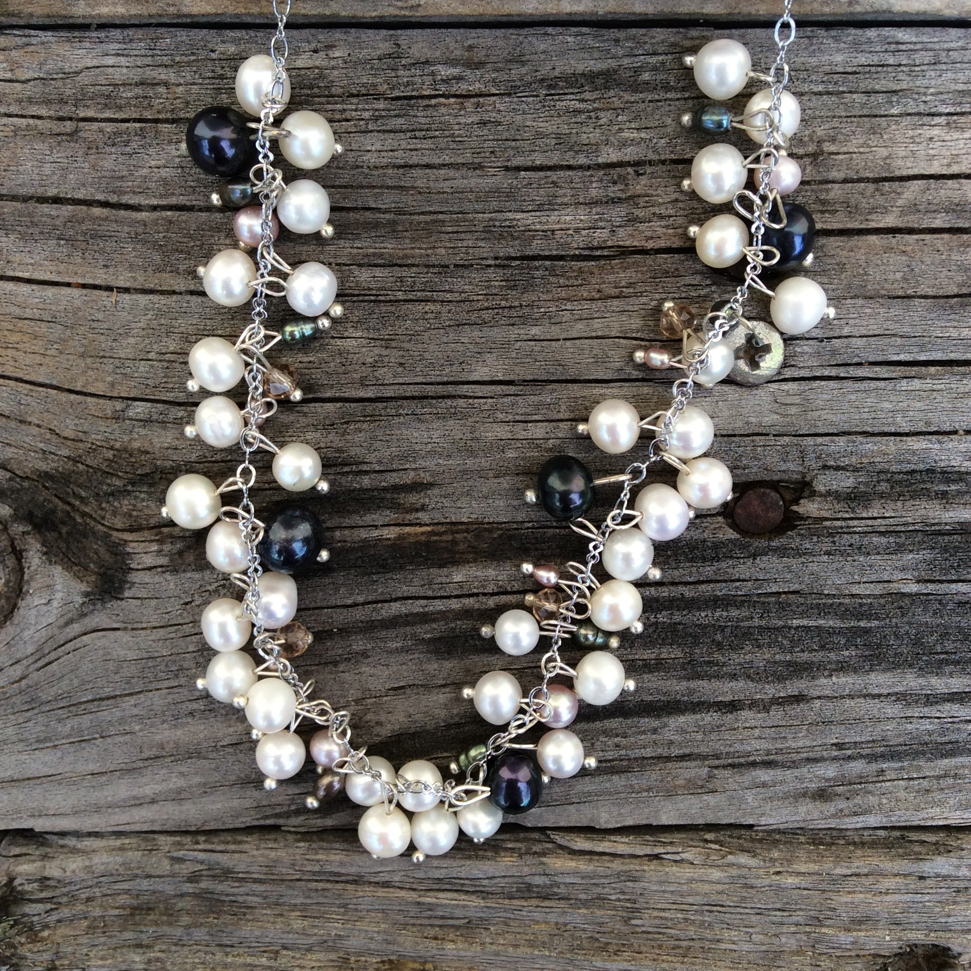 "Fair Trade Pearl Necklace ""Nightfall Cluster"""