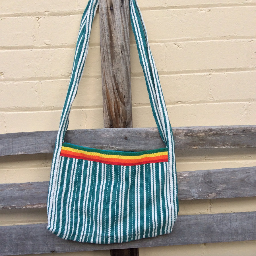 Fair Trade Long Shoulder Bag - Rainbow and Green