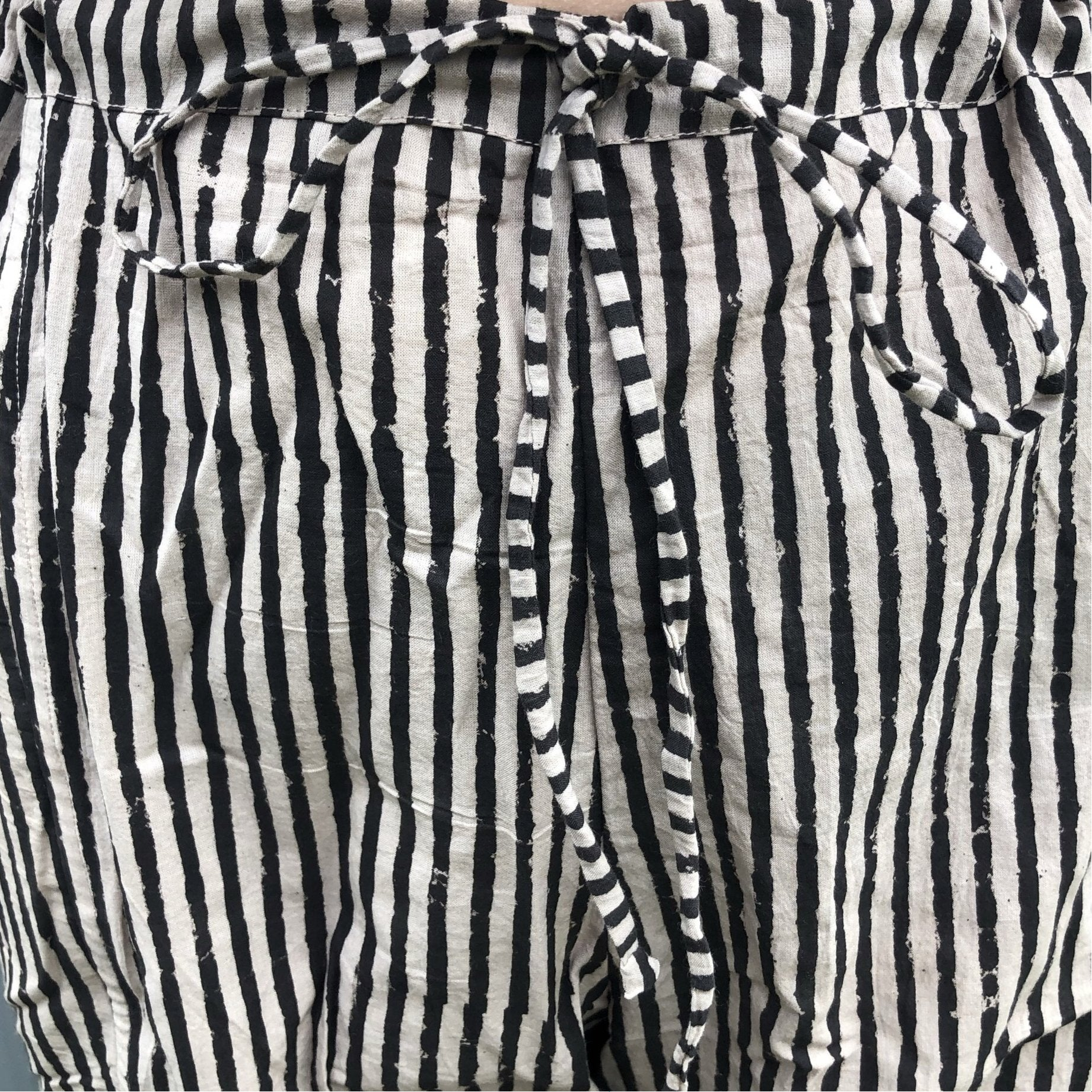 Fair Trade Ethical Striped Cotton Pants in Black