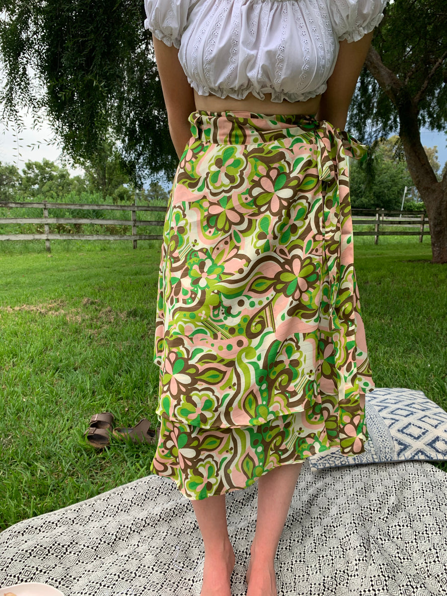 Fair Trade Upcycled Fabric 60's Swirl Wrap Skirt