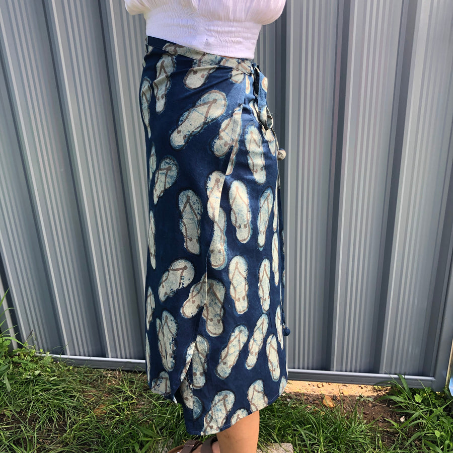 Fair Trade Ethical Cotton Mud Resistant Print Wrap Skirt Indigo Thongs Design