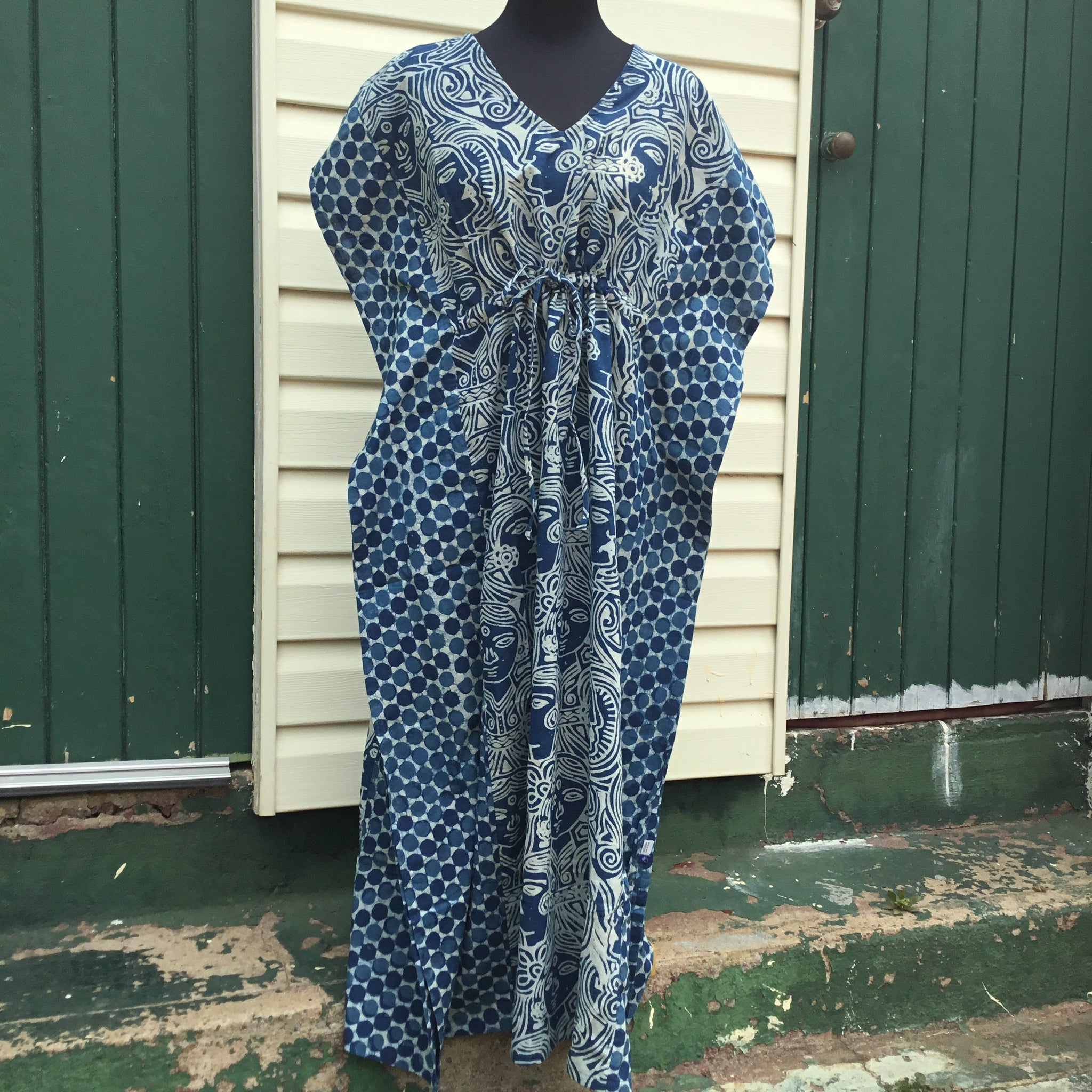 Fair Trade Long Indigo Kaftan Faces