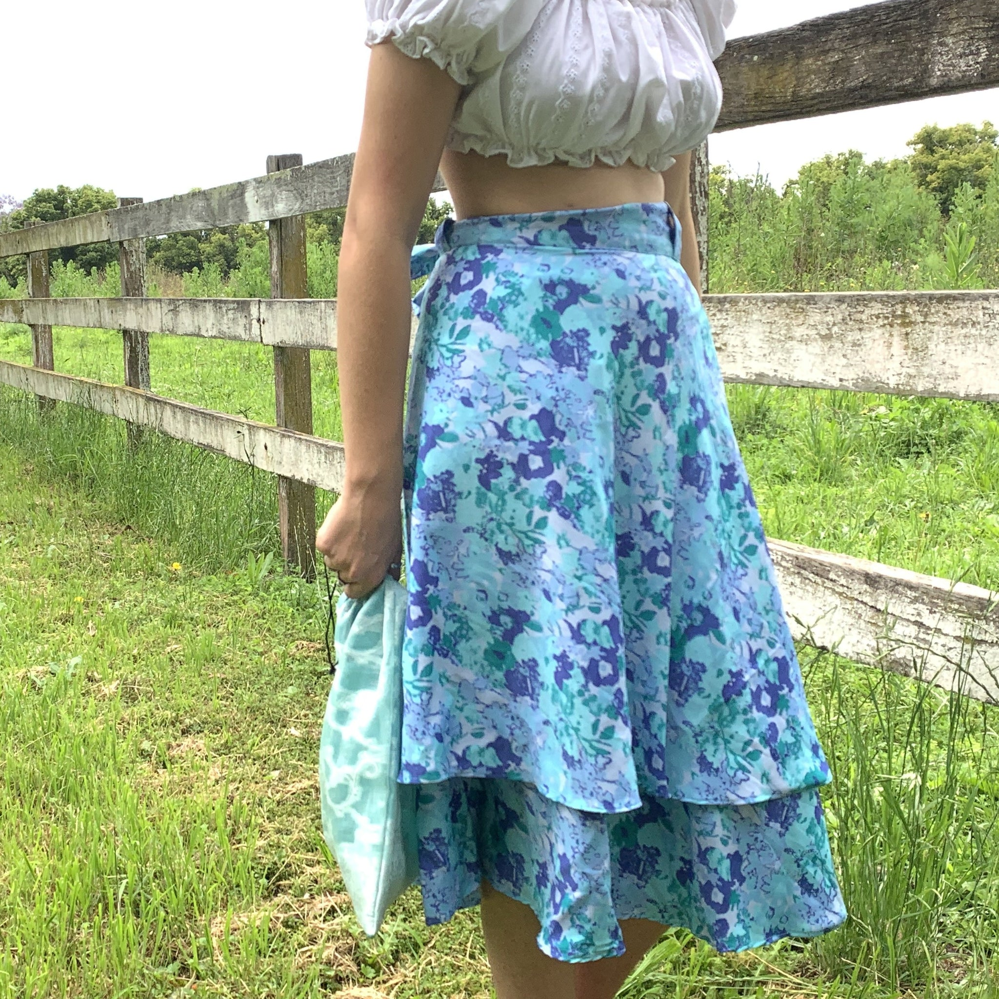 Fair Trade Upcycled Fabric Floral Blues Wrap Skirt