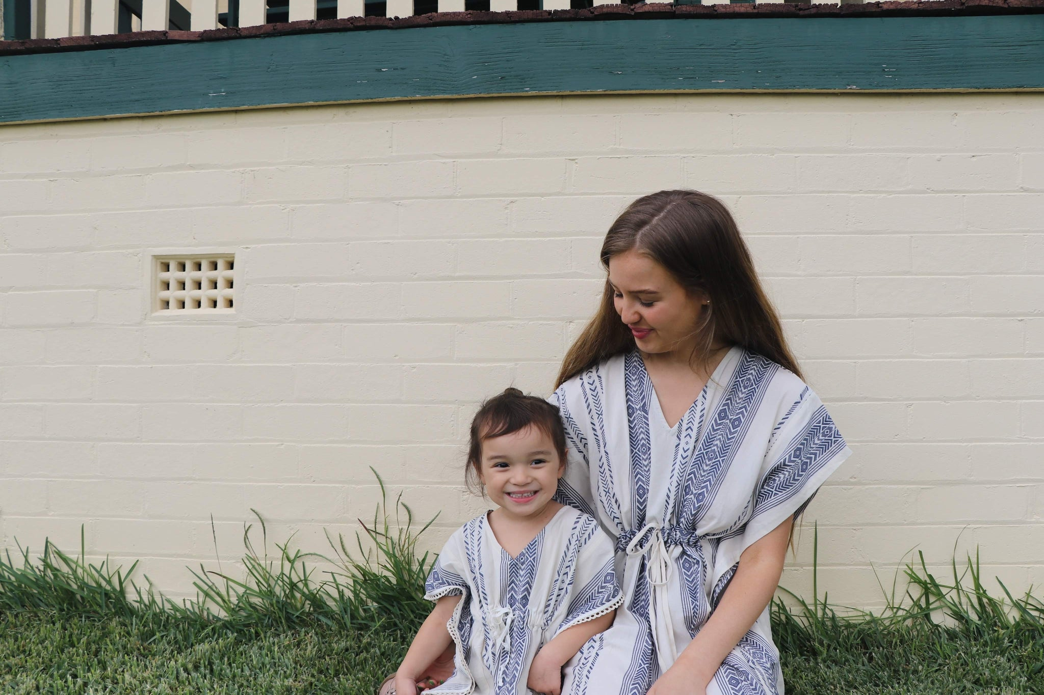 Fair Trade Blue Arrow Cotton Short Kaftan Light Towel Child