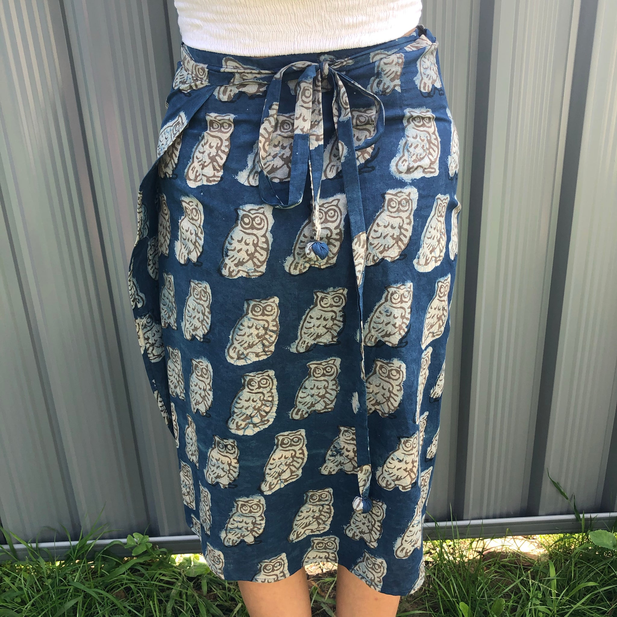 Fair Trade Ethical Cotton Mud Resistant Print Wrap Skirt. Indigo Owls design