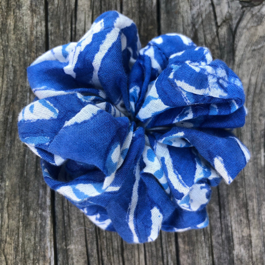 Fair Trade Ethical Scrunchies Blue Fabric Designs