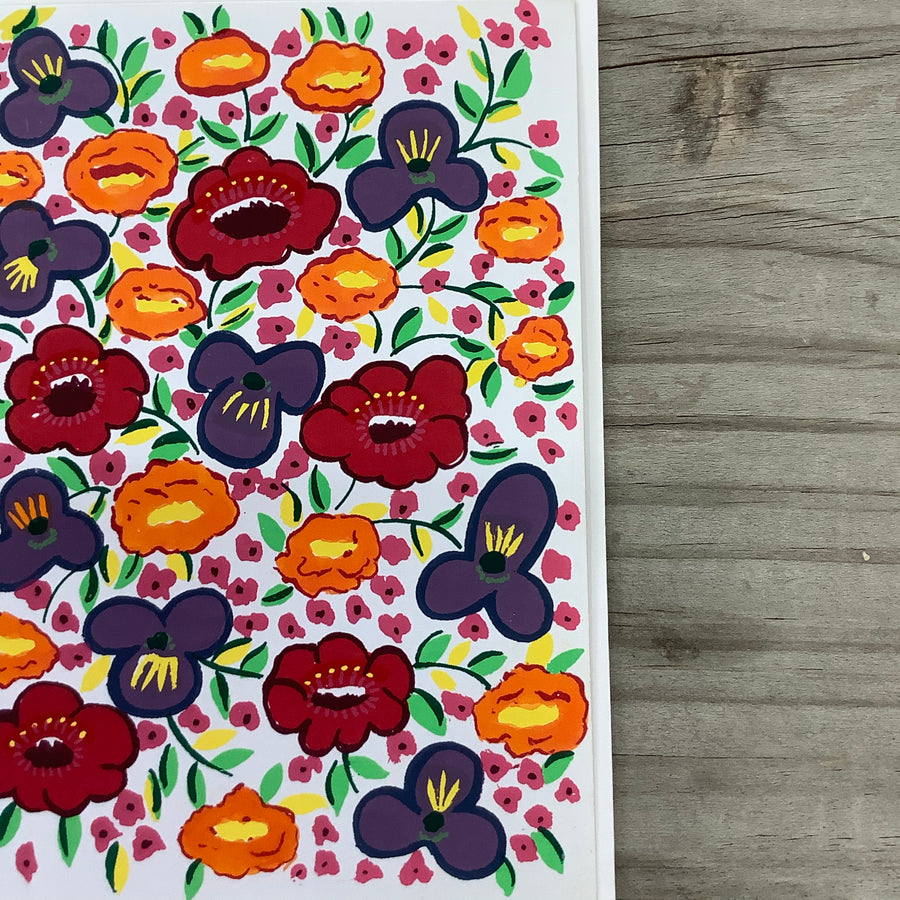 Fair Trade Rainbow Poppy's Greeting Card