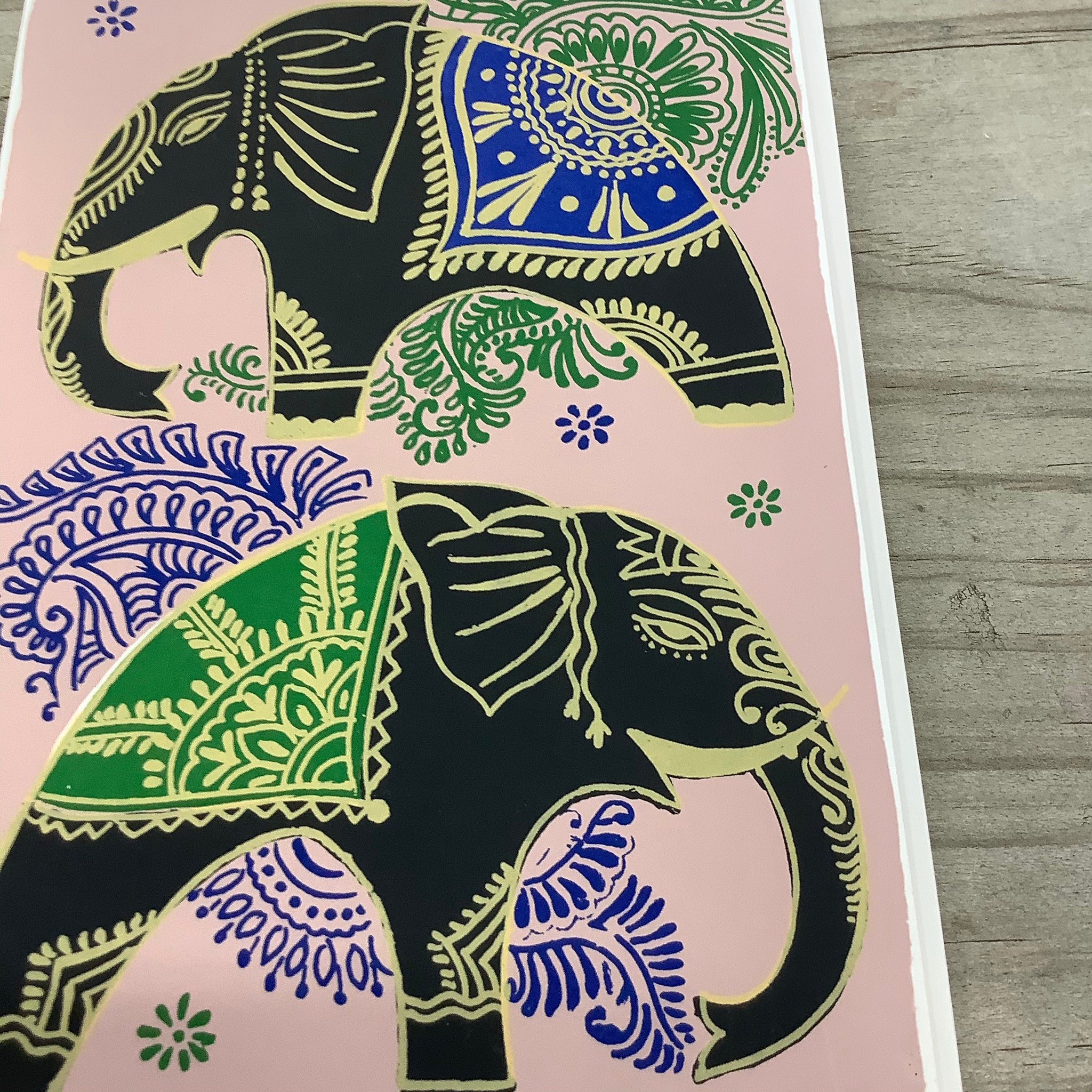 Fair Trade Blue and Green Elephants Greeting Card