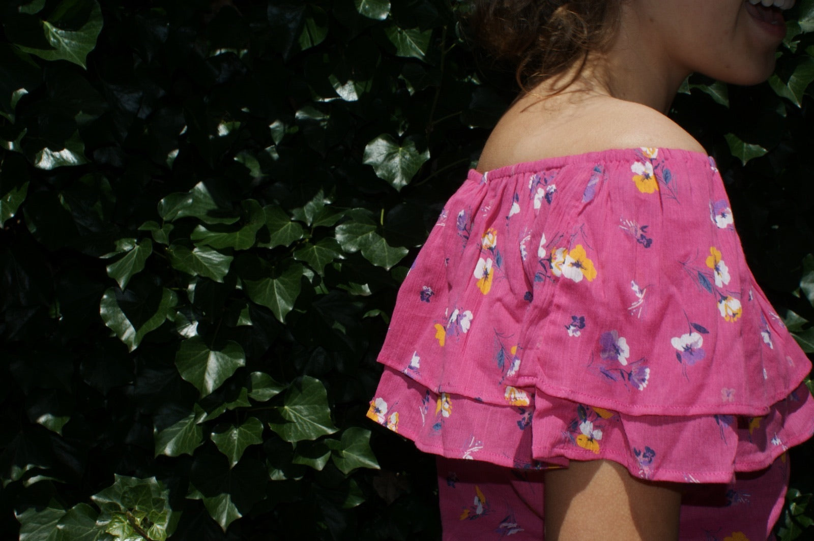 Fair Trade Cotton Off the Shoulder Top Pink Pansies Design
