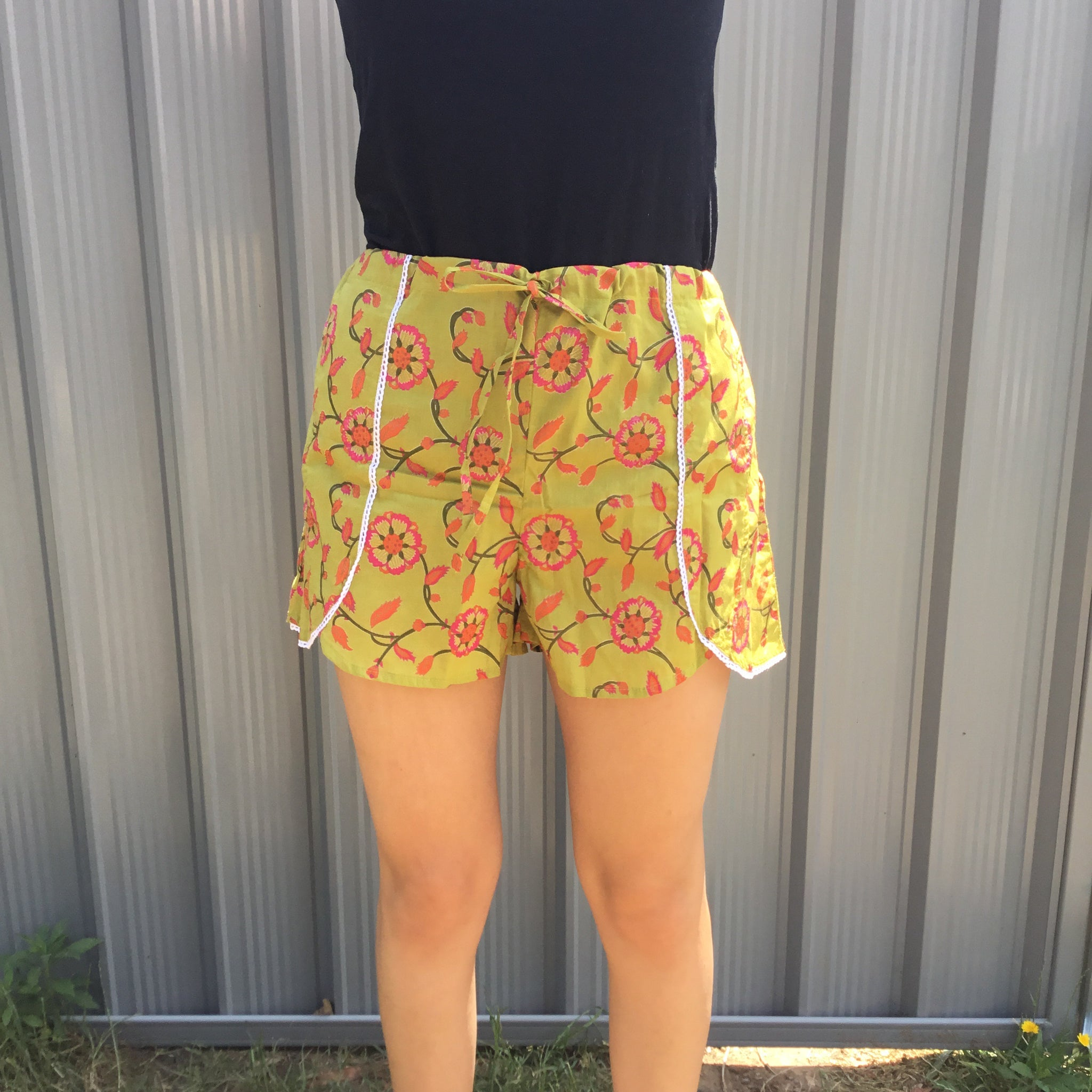 Fair Trade Ethical Floral Jammie Shorts Olive & Pink
