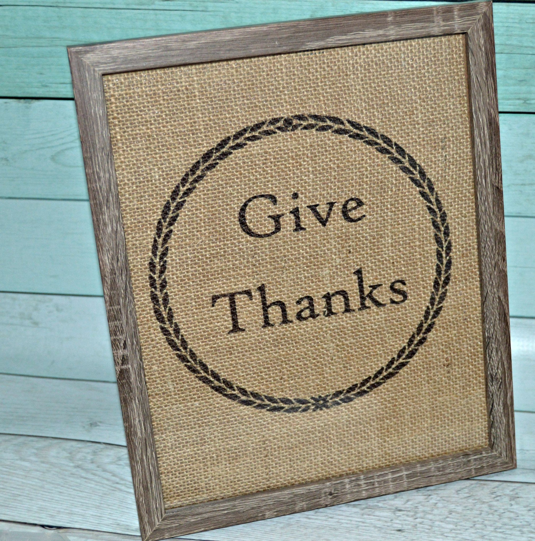 Give Thanks Burlap Home Decor
