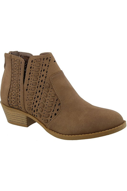 Hendrix Hot New Style of Taupe Black and Rust Low Heel Bootie