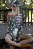 Women's American Flag Spring Summer Pullover Long Sleeved Sweater