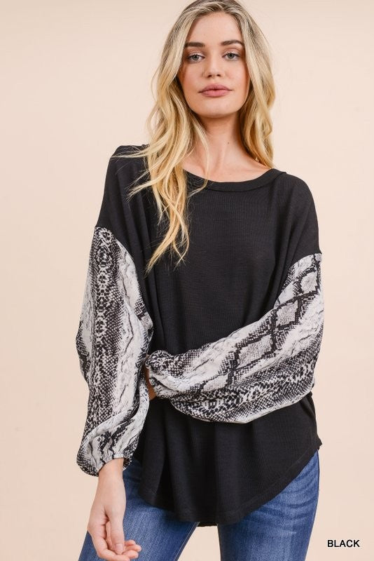 Solid Knit Top with Long Snake Print Bubble Sleeves