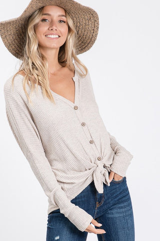 LONG SLEEVE BUTTON DETAIL WAFFLE KNIT TOP