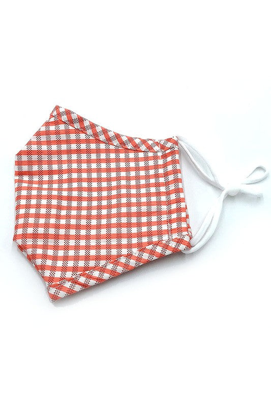 Cotton Fabric Reusable Washable Protective Face Mask Plaid Fabric Lined