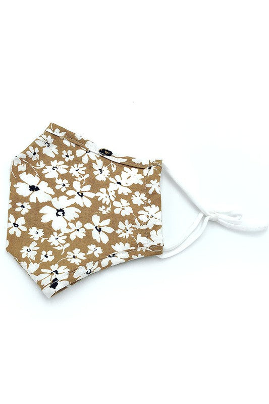 Cotton Fabric Reusable Washable Protective Face Mask Floral Fabric Lined