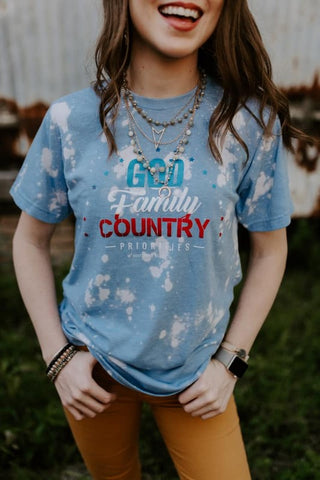 God Family Country Priorities Tee Shirt