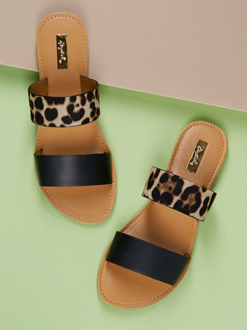 Double Leopard Solid Band Slide On Flat Sandals