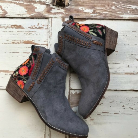 Top Pick Beautiful Low Heel Bootie with Floral Embroidered Detail.