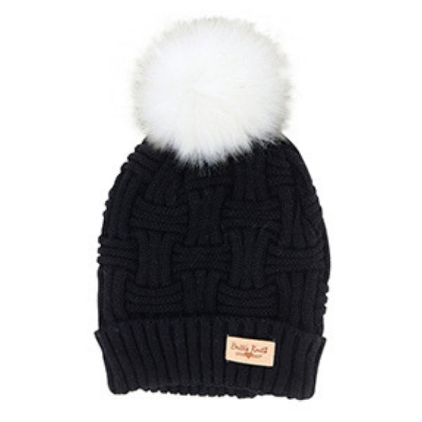 Britt's Knits Plush Lined Knit Hat with Pom