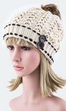 Button Accent Beanie with Faux Fur Pom Pom