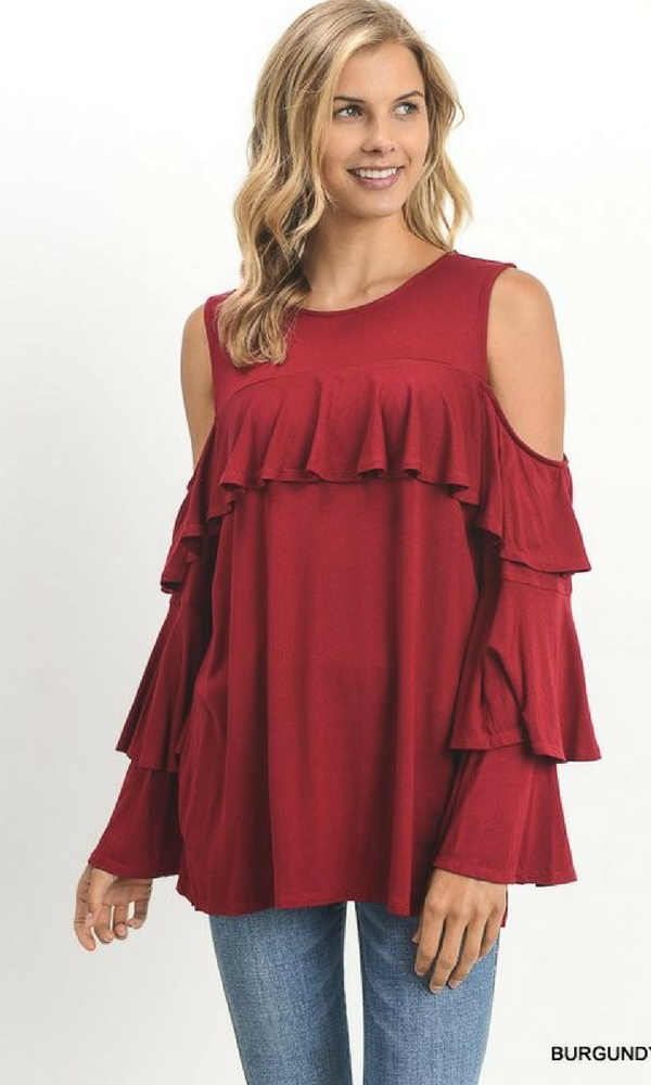 Cold Shoulder Top with Ruffled Yoke