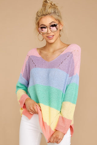 Women's Pastel Stiped Long Sleeve Knitted Sweater