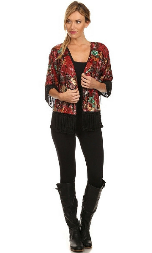 Floral Print Cropped Kimono with Fringe