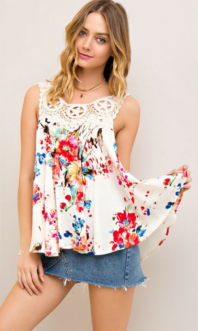 Floral Print Sleeveless Top with Crochet Detail