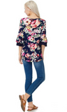 Floral Layered Ruffle Sleeved Tunic