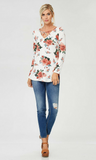 Women's Plus Size Floral Long Sleeve Tunic Top