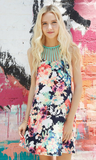 Floral Print Cami Straps Tied Neckline Dress