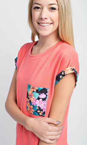 French Terry Top with Floral Details