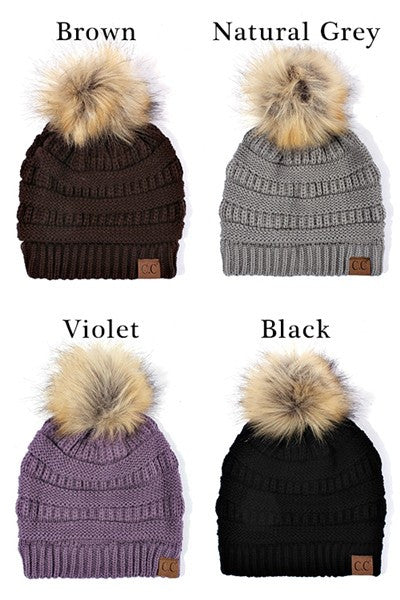 C C Beanie Solid Ribbed Beanie with Faux Fur Pom
