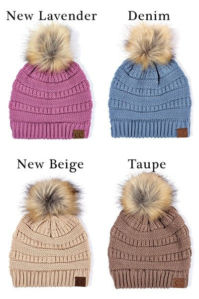 651ca104851 C C Beanie Solid Ribbed Beanie with Faux Fur Pom – Blueberi Boutique