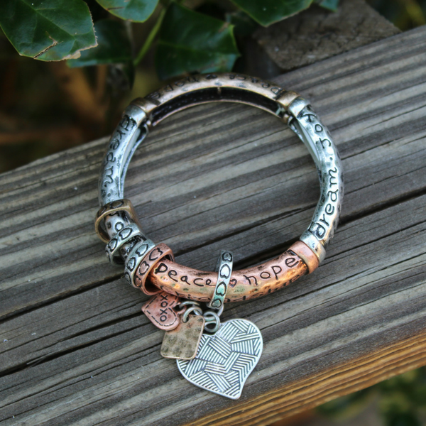 Inspirational Copper & Silver Stretch Bracelet
