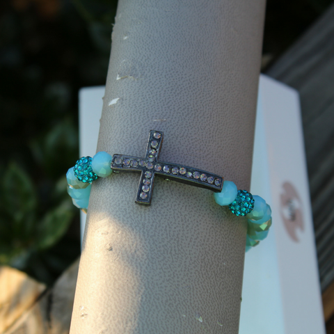 Light  Blue Bracelet with Cross Accent