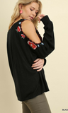 Long Sleeved Top with Floral Embroidered Open Shoulders