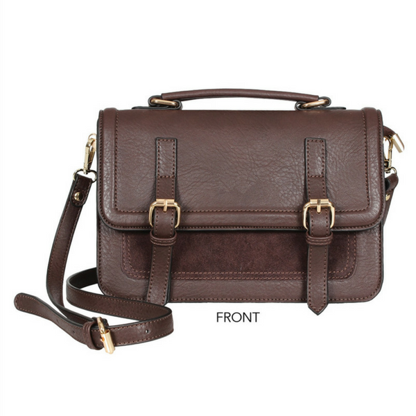 SUEDE DOUBLE BUCKLE CROSSBODY