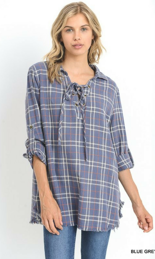 Plaid Top with Lace Up Neck