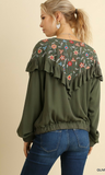 Women's Ruffled Zipper Front Jacket with Floral Embroidered Detail
