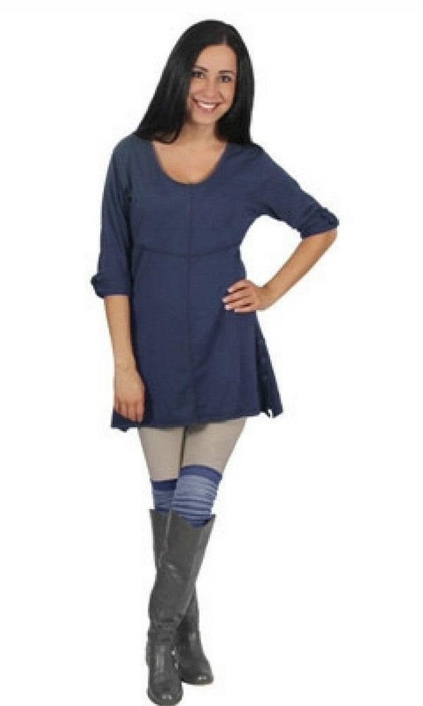 Elbow Length Ladies Knit  Top w/Button By Simply Noelle