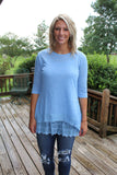 Women's  3/4 Sleeve Top With Lace Underlay